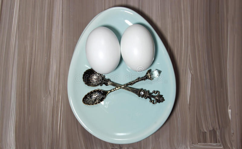 Download Eggs on a plate stock image. Image of plates, setting - 88247099