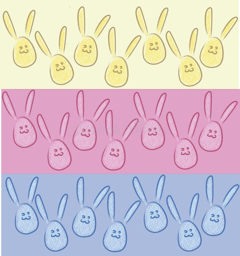 Rabbits in the form of eggs, bunnies 3 - ` s colors stock illustration