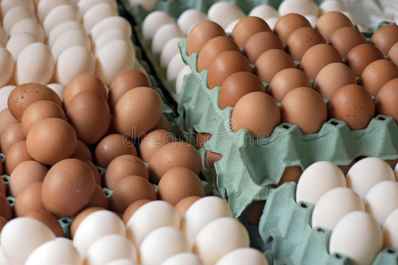 Eggs for sale. In open-air market stall in Brazil stock images
