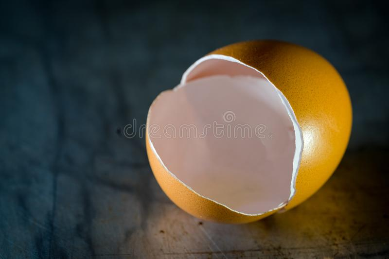Eggs Shell close up. Eggshell is made almost entirely of calcium carbonate crystals. It is a semipermeable membrane, which means that air and moisture can pass stock image