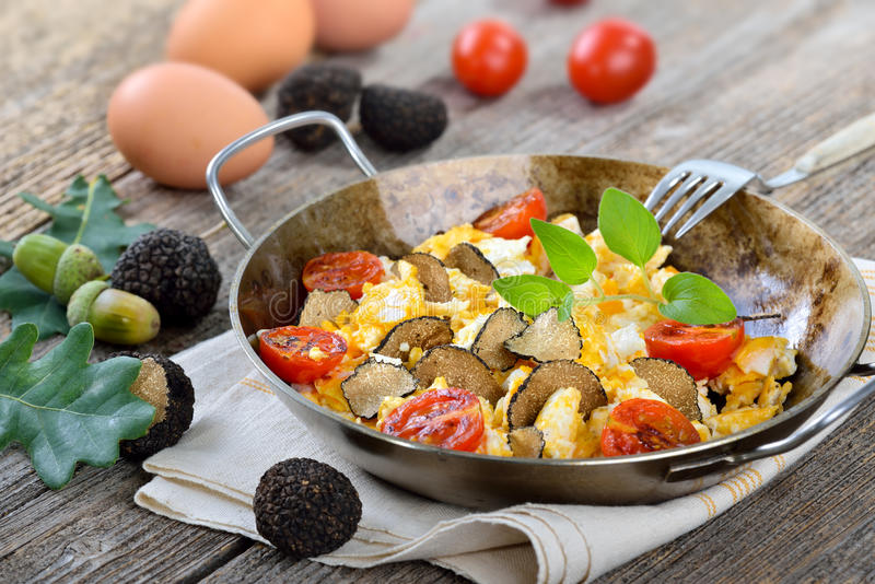 Eggs with truffles stock photography