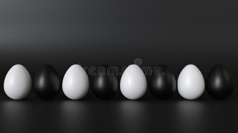 The eggs are white and black. Positioned in a row. stock photos