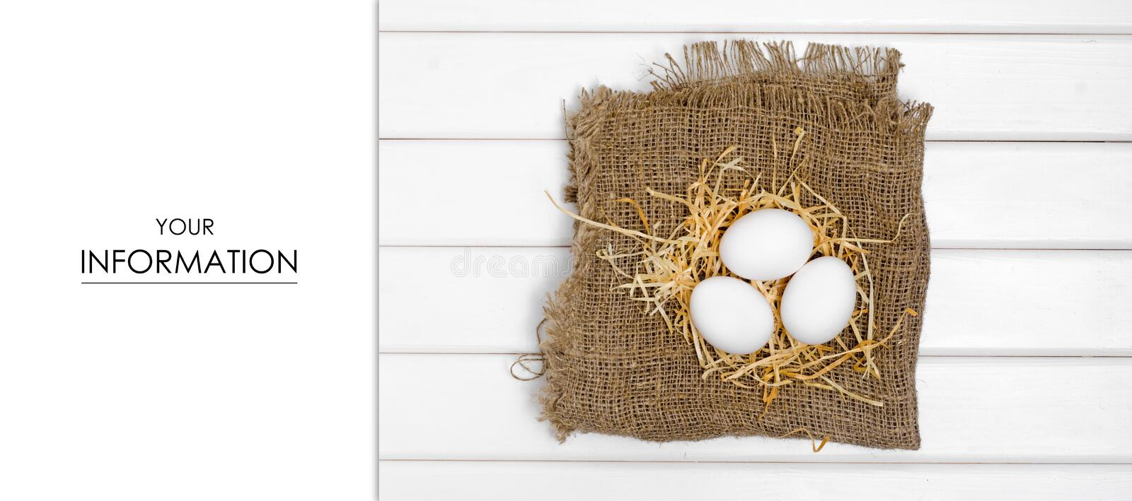 Eggs of white hay pattern royalty free stock photo