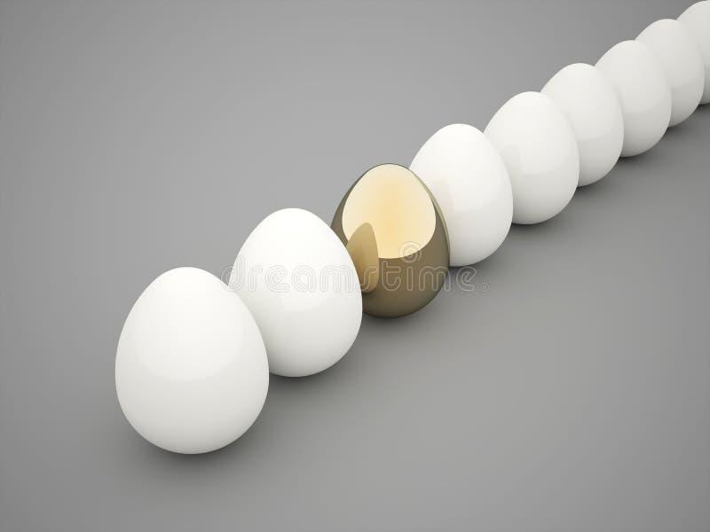 Eggs white one gold vector illustration