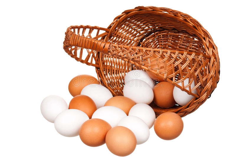 Eggs In Wicker Basket Royalty Free Stock Photo