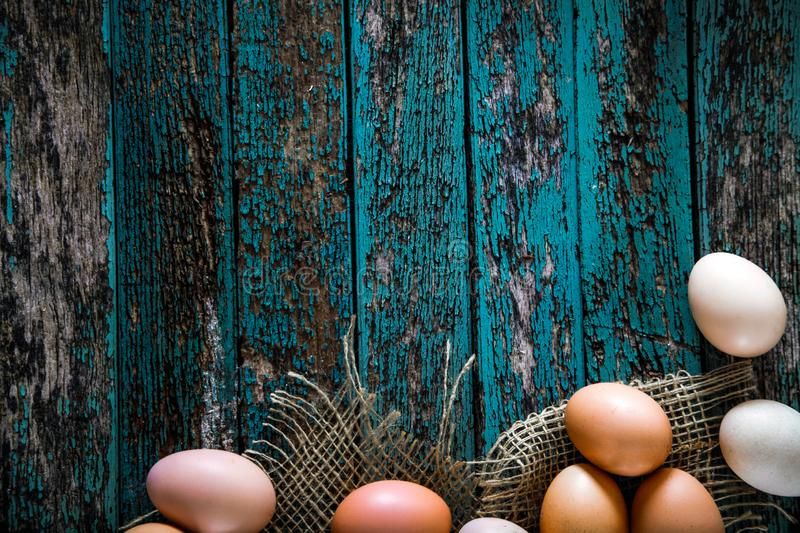 Eggs on wood royalty free stock photos
