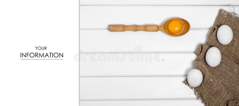 Eggs wooden spoon yolk female hand pattern stock image