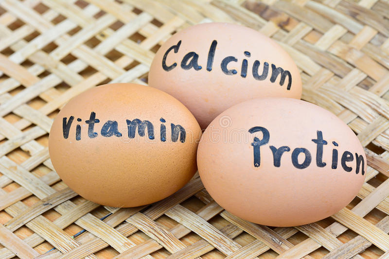 Eggs with word vitamin,protien,calcium for food concept. Closeup of eggs with handwriting word vitamin,protien,calcium on wood basket for food concept royalty free stock photo