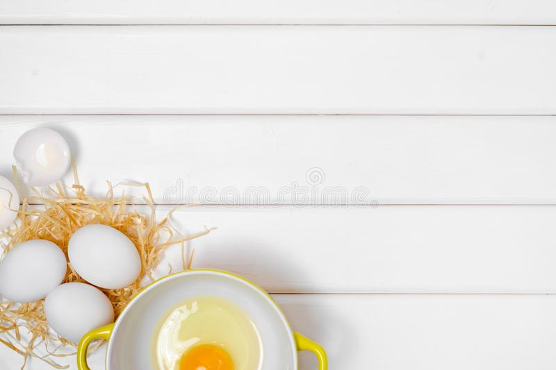 Eggs yolk in a plate stock images