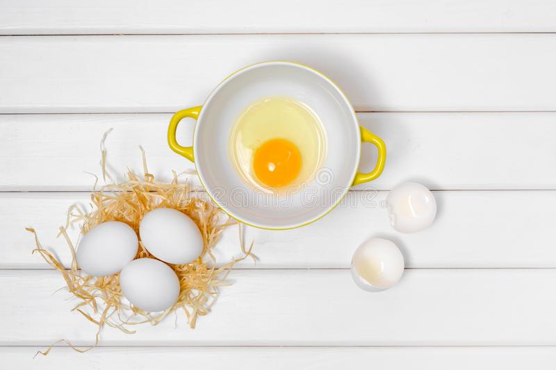 Eggs yolk in a plate royalty free stock images