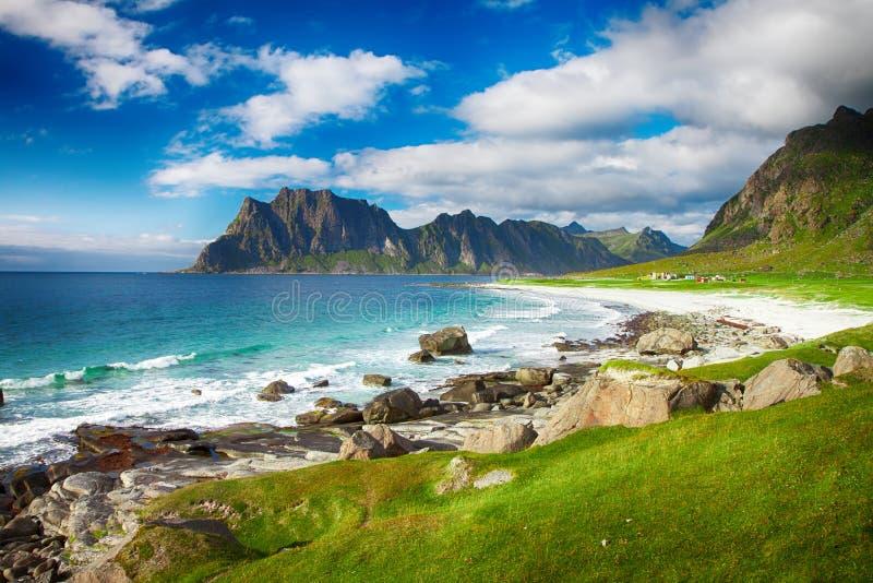 Eggum海滩在Lofoten海岛上的挪威 免版税库存图片