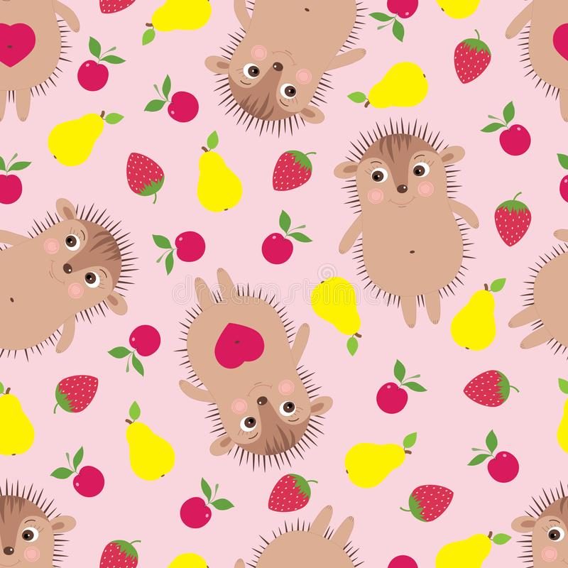 Vector funny seamless pattern with smiling hedgehogs stock illustration