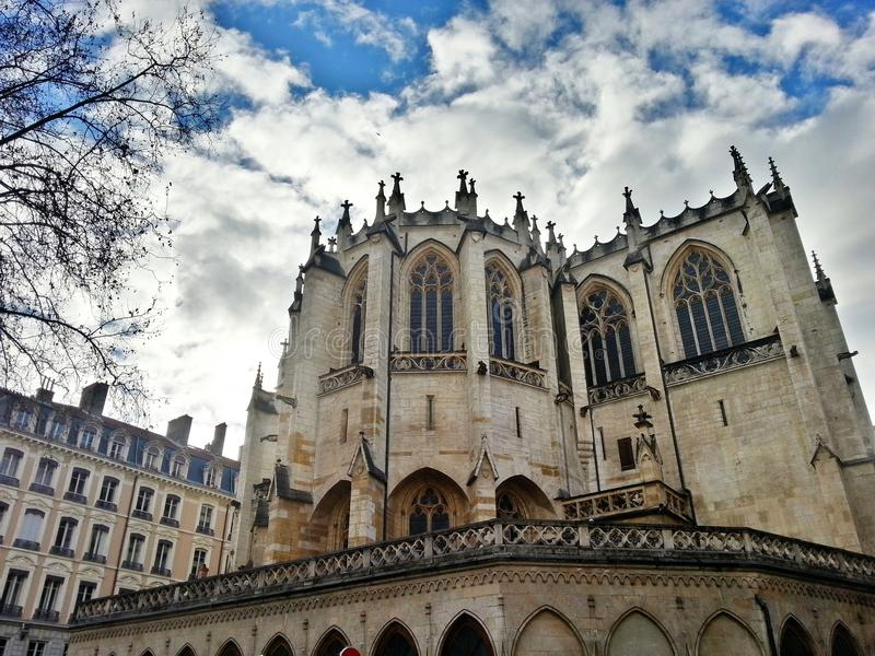 Egils Paroisse Katholieke Heilige Nizier, de oude stad van Lyon, Frankrijk stock foto's
