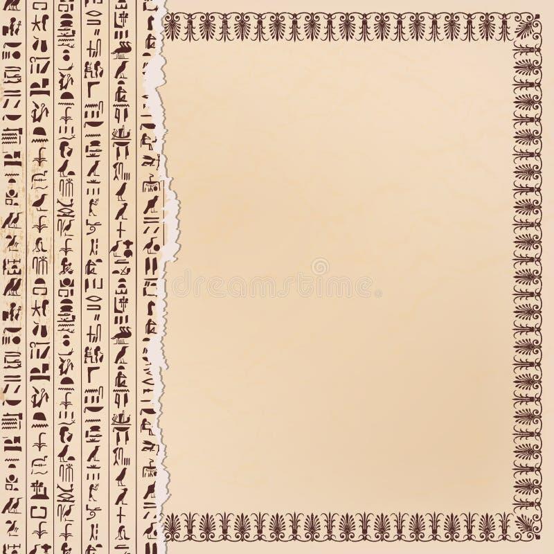 Egipcjanów hieroglify i ornamenty royalty ilustracja