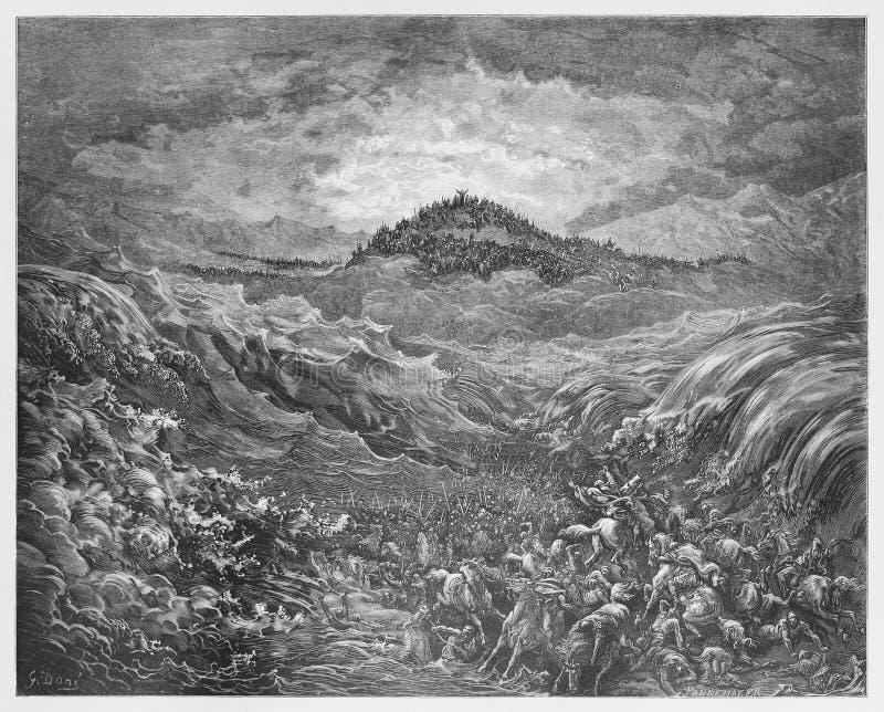 Egipcjanie toną w Czerwonym morzu ilustracja wektor
