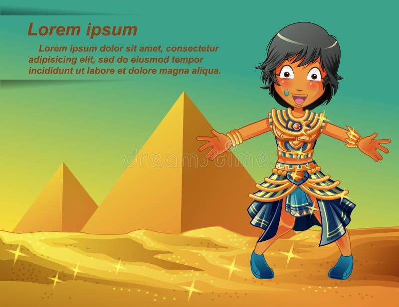 Egipcjanina charakter na ostrosłupa tle royalty ilustracja
