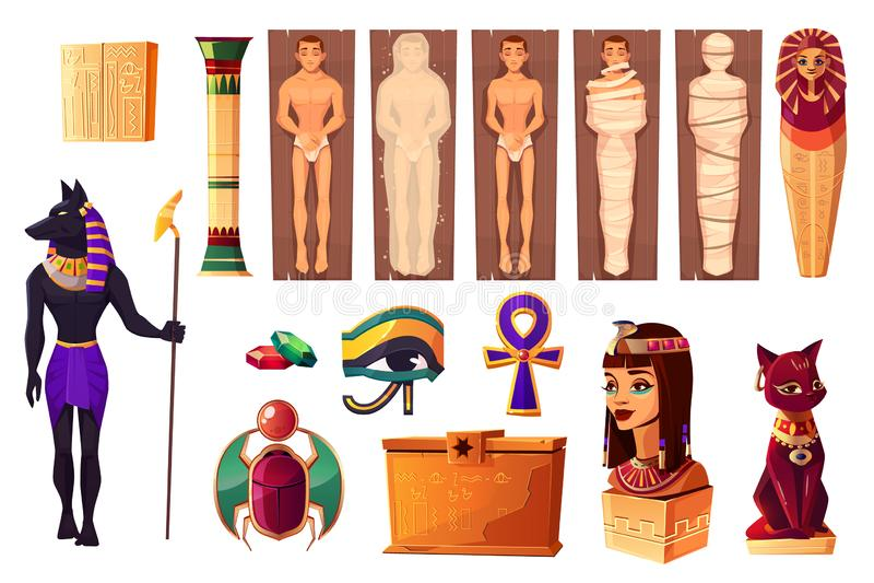 Egipscy atrybuty kultury i religii set ilustracji