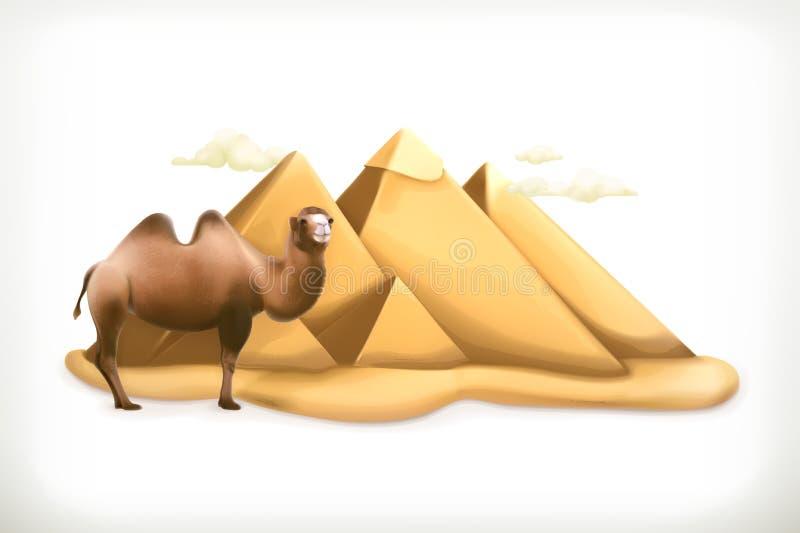 Egipscy ostrosłupy i wielbłąd royalty ilustracja