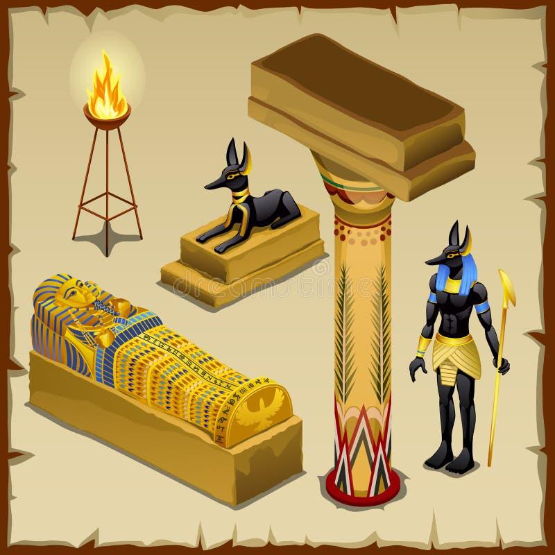 Egipscy symbole antyczna cywilizacja, duży set ilustracji