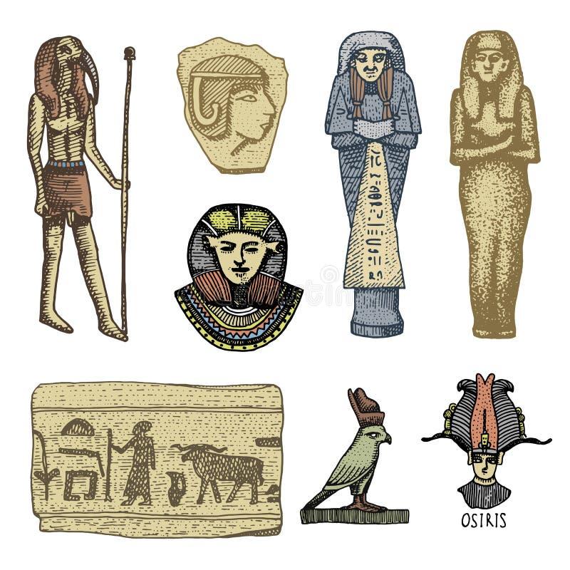 Egipscy symbole, pharaon, scorob, hieroglyphics i osiris, przewodzą, bóg rocznik, grawerująca ręka rysująca w nakreśleniu lub dre ilustracji