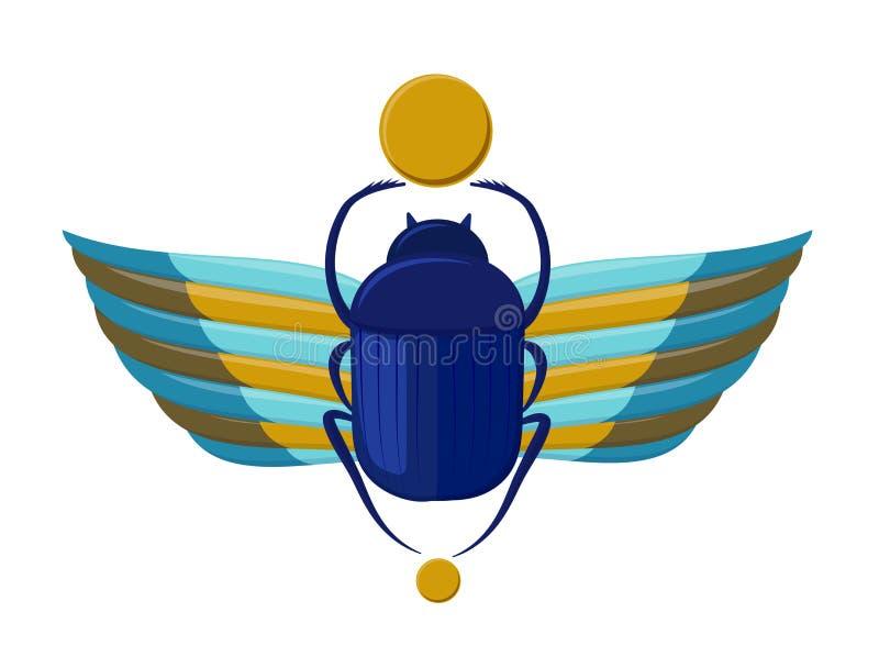 Egipska ściga z skrzydłami Symbolizm antyczny Egipt Scarabeus ściga Skarabeusz pluskwa ilustracja wektor