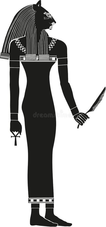 Egipska bogini Bast sylwetka ilustracji