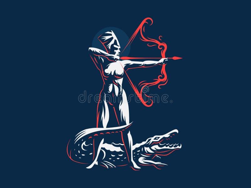 Egipska bogini Neith łuczniczki Krokodyl ilustracja wektor