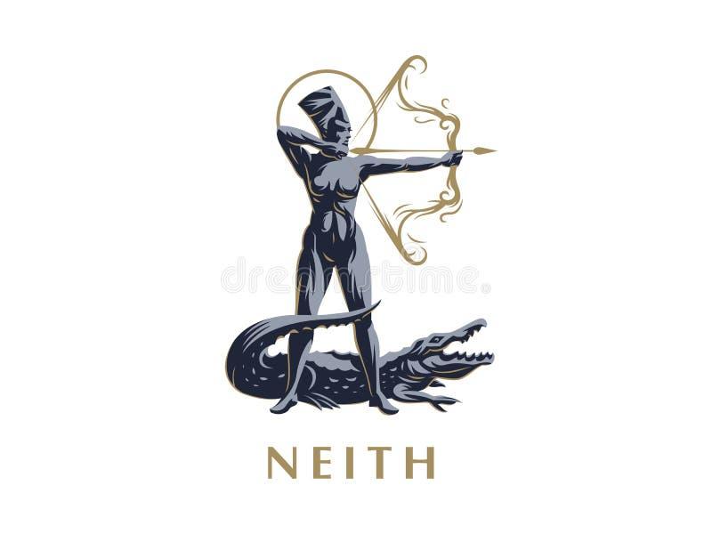 Egipska bogini Neith łuczniczki Krokodyl royalty ilustracja