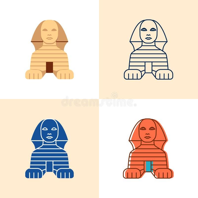 Egipska sfinks ikona ustawiająca w płaskim i kreskowym stylu ilustracja wektor