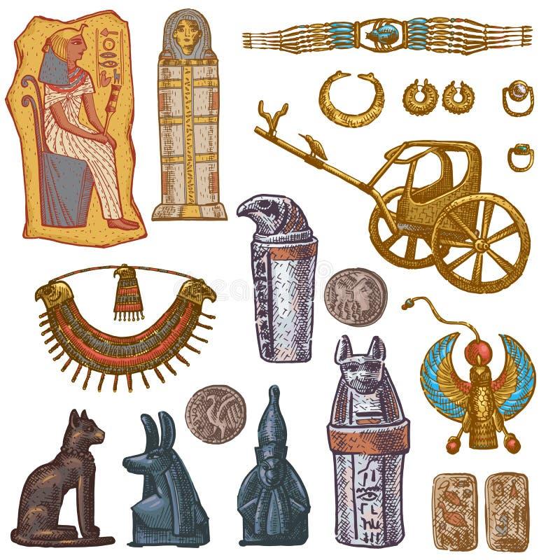 Egipska wektorowa antyczna sarkofag pharaoh biżuterii sfinksa kota statua Egipt kultury dziejowa architektura wewnątrz ilustracja wektor
