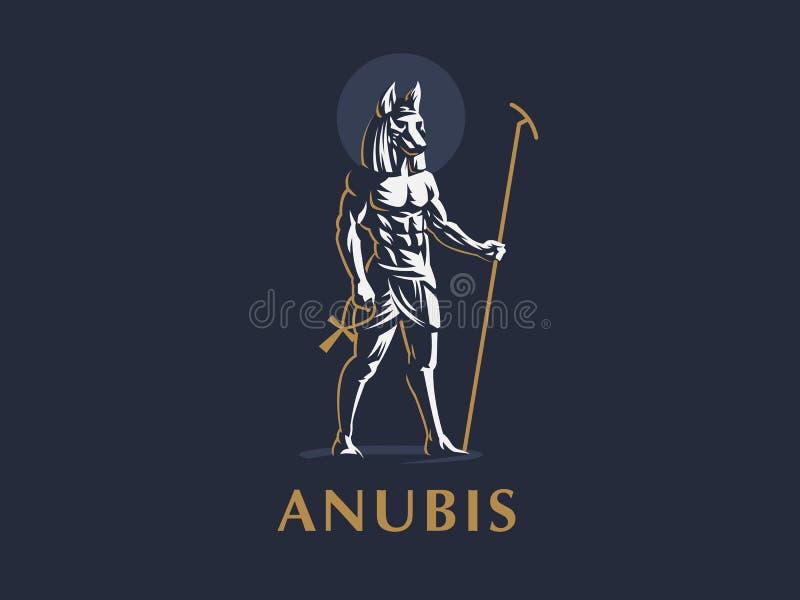 Egipski bóg Anubis 8 emblemata eps odizolowywający wektorowy biel royalty ilustracja