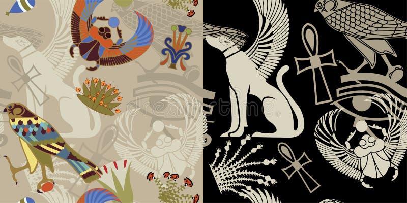 egipski bezszwowy dwa warianta ilustracji
