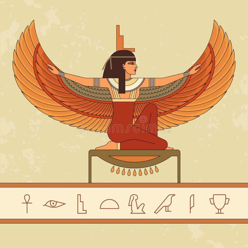 Egipski bogini Isis Animacja portret piękna Egipska kobieta ilustracja wektor
