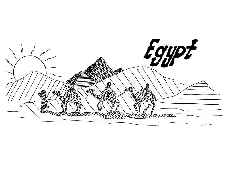 Egipski czarny i biały nakreślenie z wielbłądami i pustynią royalty ilustracja