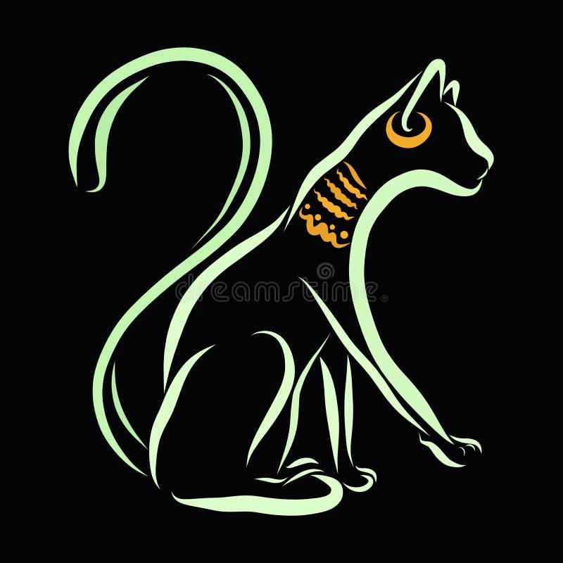 Egipski kot z ornamentami, czarny tło, kontur royalty ilustracja
