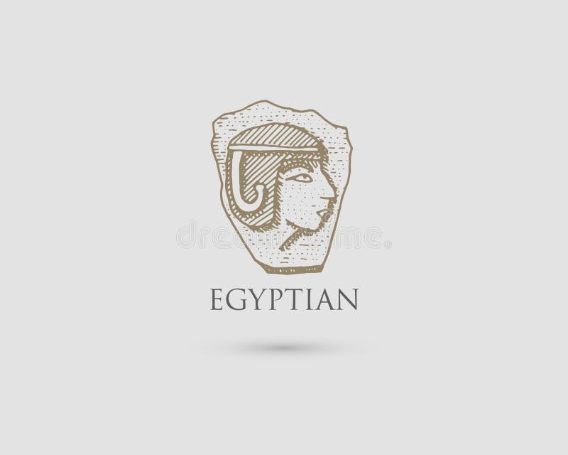 Egipski pharaon logo z symbolem antyczny cywilizacja rocznik, grawerująca ręka rysująca w nakreśleniu lub drewna cięcia styl, sta ilustracja wektor
