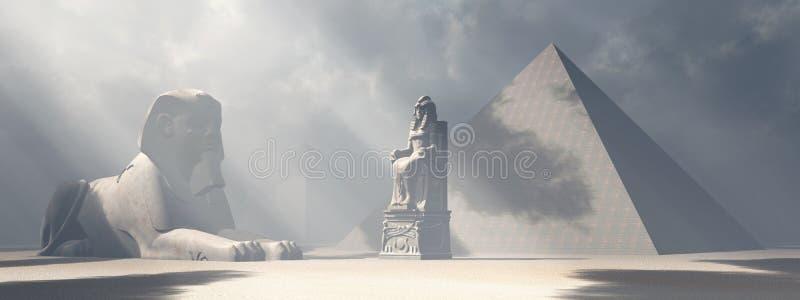 Egipski sfinks, statua i ostrosłupy,