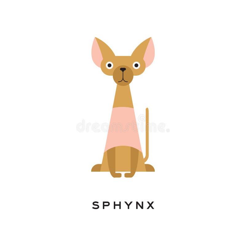 Egipski sphynx kot z śmiesznym kaganem Bezwłosa figlarka z długim cienkim ogonem i dużymi ucho Kreskówka zwierze domowy mieszkani ilustracji