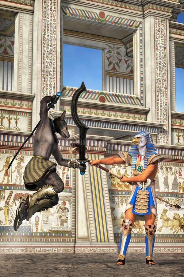 Egipski towarowy rywalizujący z sobą ilustracji
