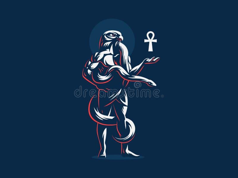 Egipskie bóg akademie królewskie z ankh w jego ręce ilustracja wektor
