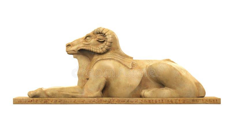 Egipskiego baranu sfinksa Głowiasta statua ilustracja wektor