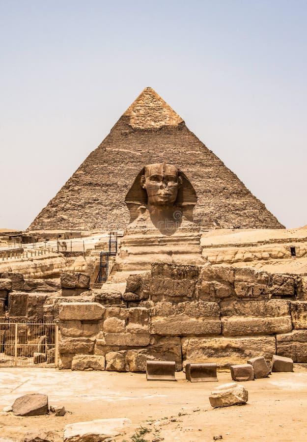 Egipskiego Wielkiego sfinksa ciała portreta pełna głowa z ostrosłupami Giza tło Egipt pusty z nikt, kosmos kopii zdjęcia stock