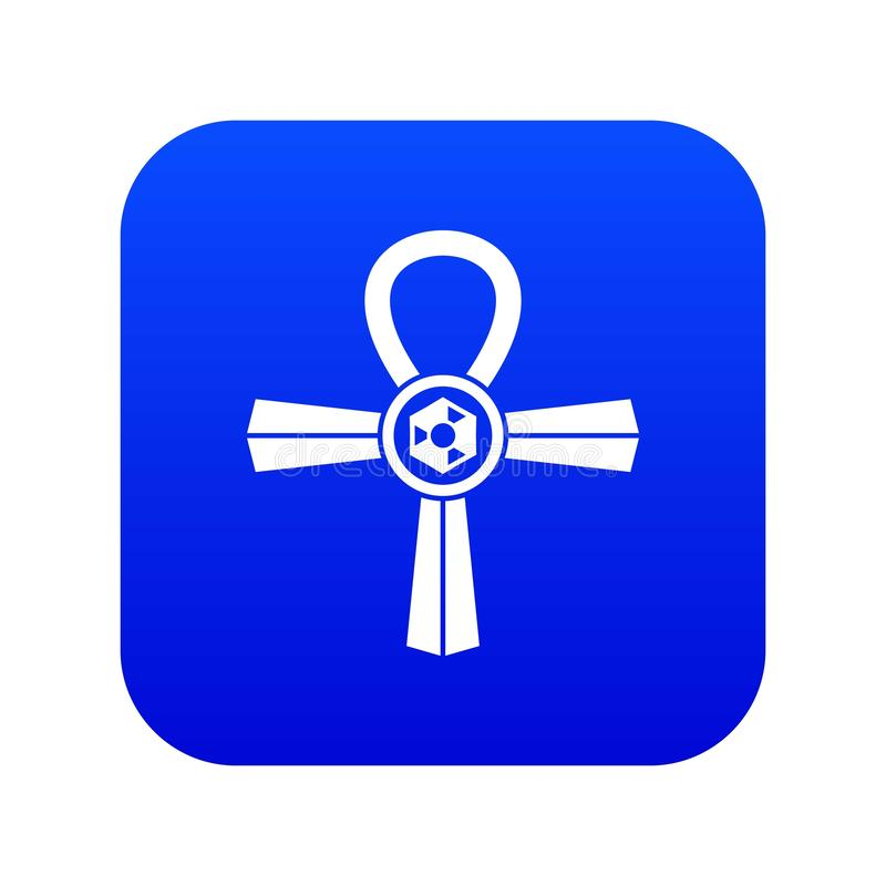 Egipt Ankh symbolu ikony cyfrowy błękit royalty ilustracja