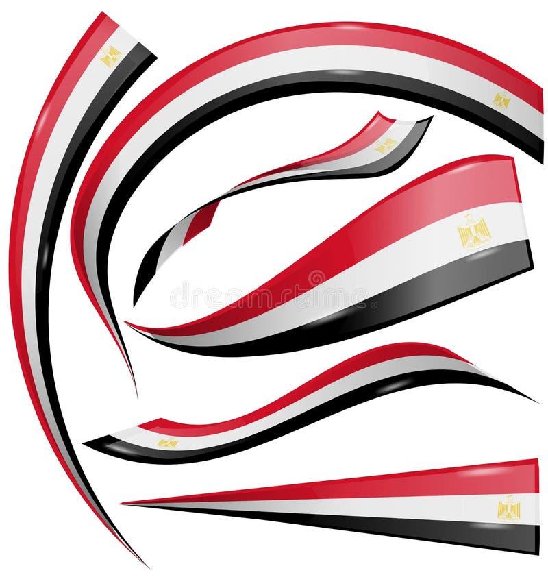 Egipt flaga set royalty ilustracja