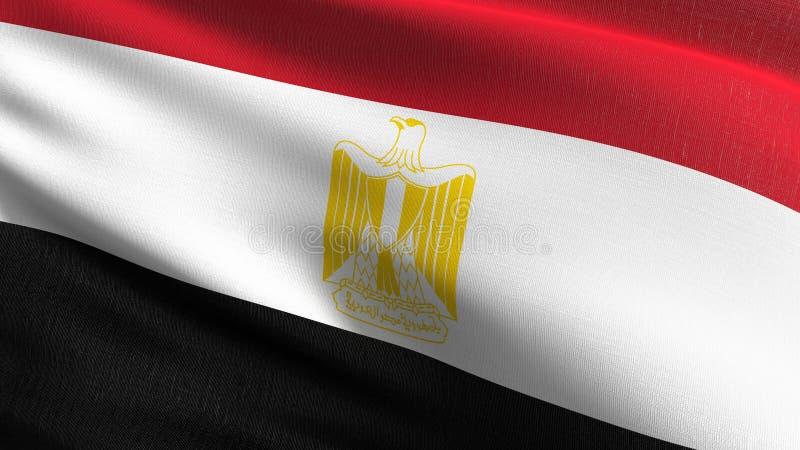 Egipt flagi państowowej dmuchanie w wiatrze odizolowywającym Oficjalny patriotyczny abstrakcjonistyczny projekt 3D renderingu ilu ilustracja wektor