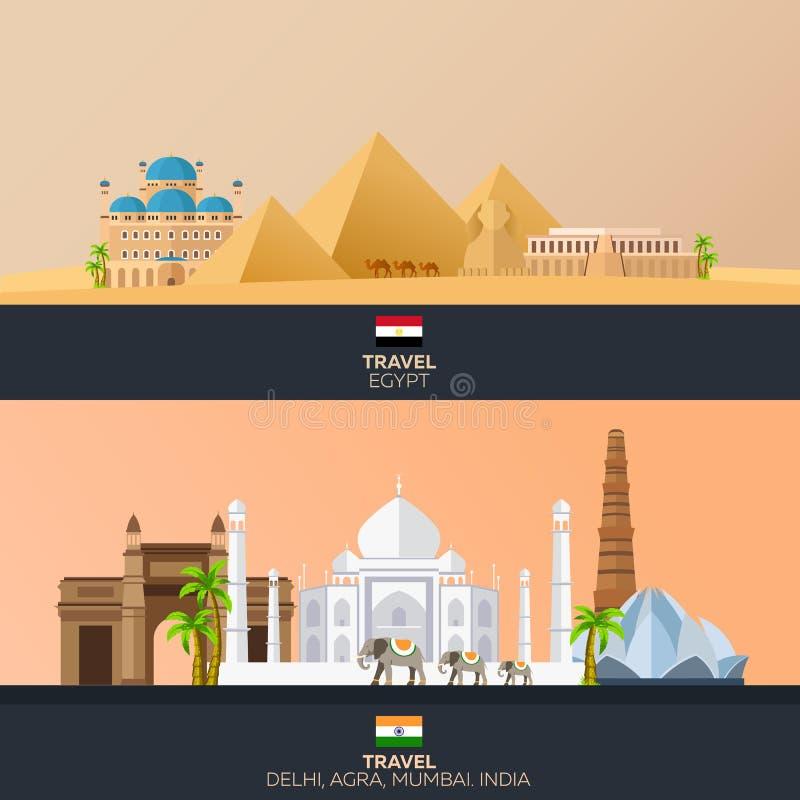 Egipt i India Turystyka Podróżna ilustracja Nowożytny płaski projekt egypt podróż indu royalty ilustracja