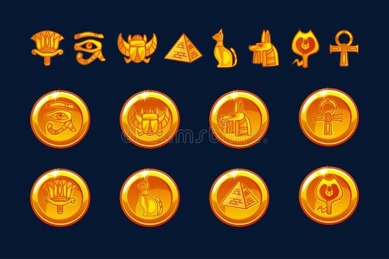Egipt ikon monety i projektów elementy odizolowywający Kolekcja antycznego Egipt ikony - ostrosłup, skarabeusz, kot, sfinks, oko ilustracja wektor