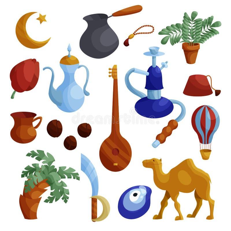 Egipt ikony ustawiać, kreskówka styl ilustracji