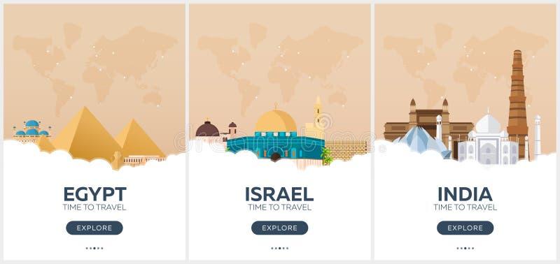 Egipt, Izrael, ind czas podróży Set podróż plakaty Wektorowa płaska ilustracja ilustracji