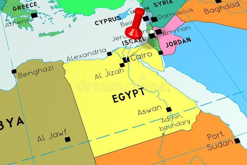 Egipt Polityczna Mapa Z Kapitalem Kair Ilustracja Wektor